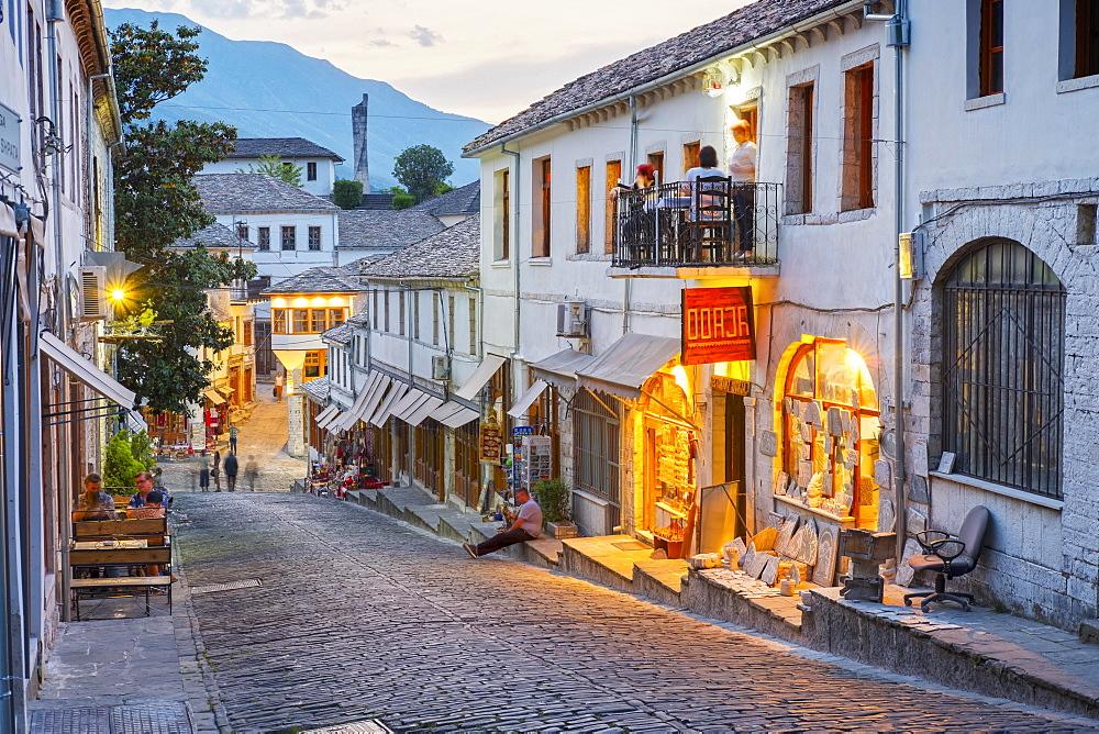 Bazaar district, Qafa e Pazarit, Old Town, Gjirokastra, Gjirokastër, Albania, Europe