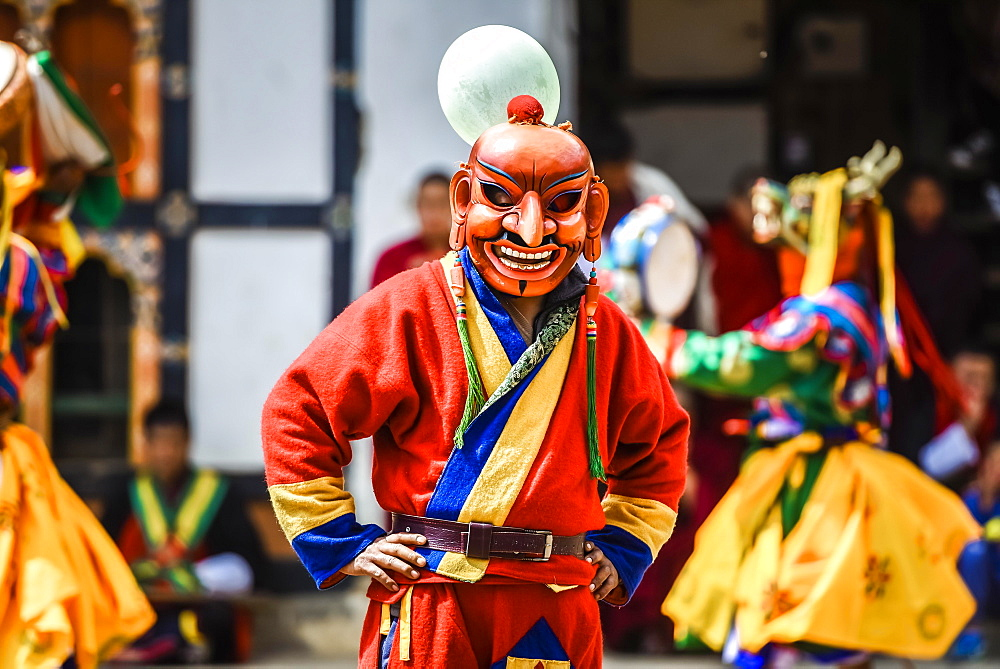 Fool, jester at the Mask Dance, religious Tsechu Monastery Festival, Gasa District District District Tshechu Festival, Gasa, Himalaya Region, Kingdom of Bhutan