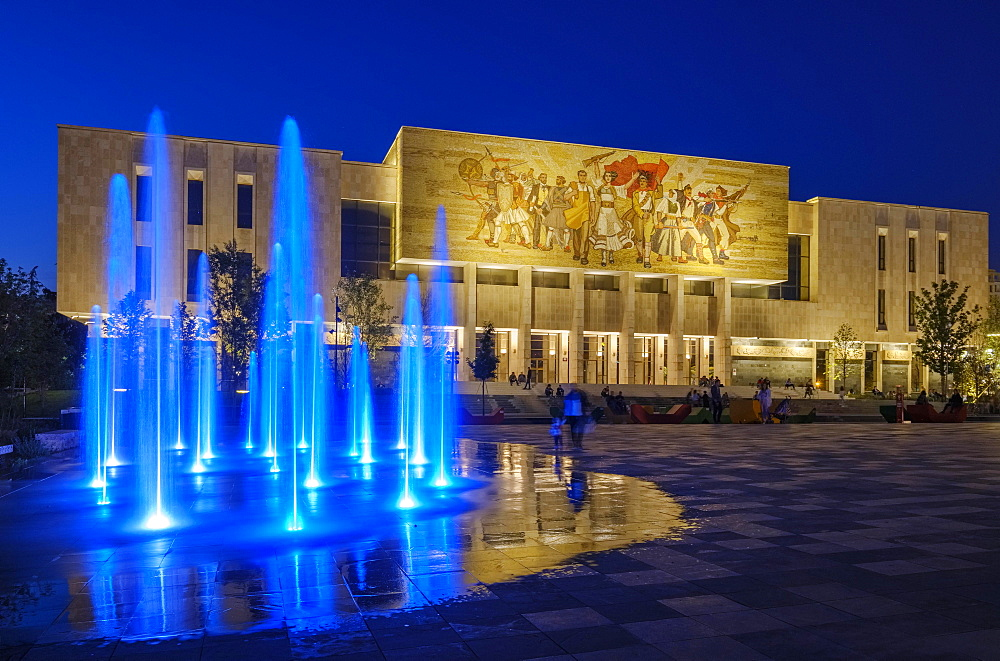 National Historical Museum with Fountain, Muzeu Historik Kombëtar, at night, Skanderbeg Square, Tirana, Albania, Europe