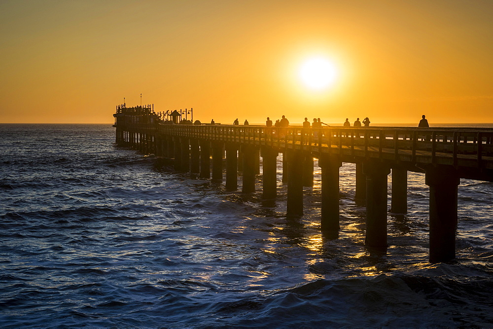 The old, rebuilt Jetty at sunset, Swakopmund, Erongo region, Namibia, Africa