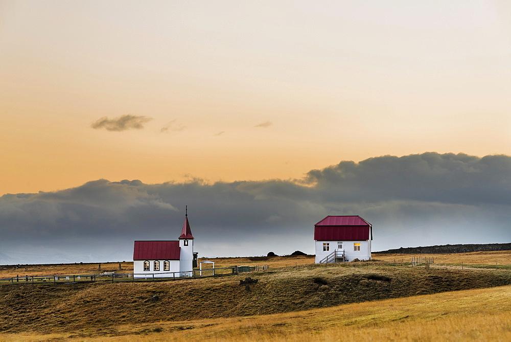 Small church with house, Brjánslækur, Westfjords, Iceland, Europe