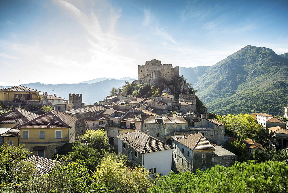 Medieval village with a castle in the mountains, Castelvecchio di Rocca Barbena, Savona Province, Liguria, Italy, Europe