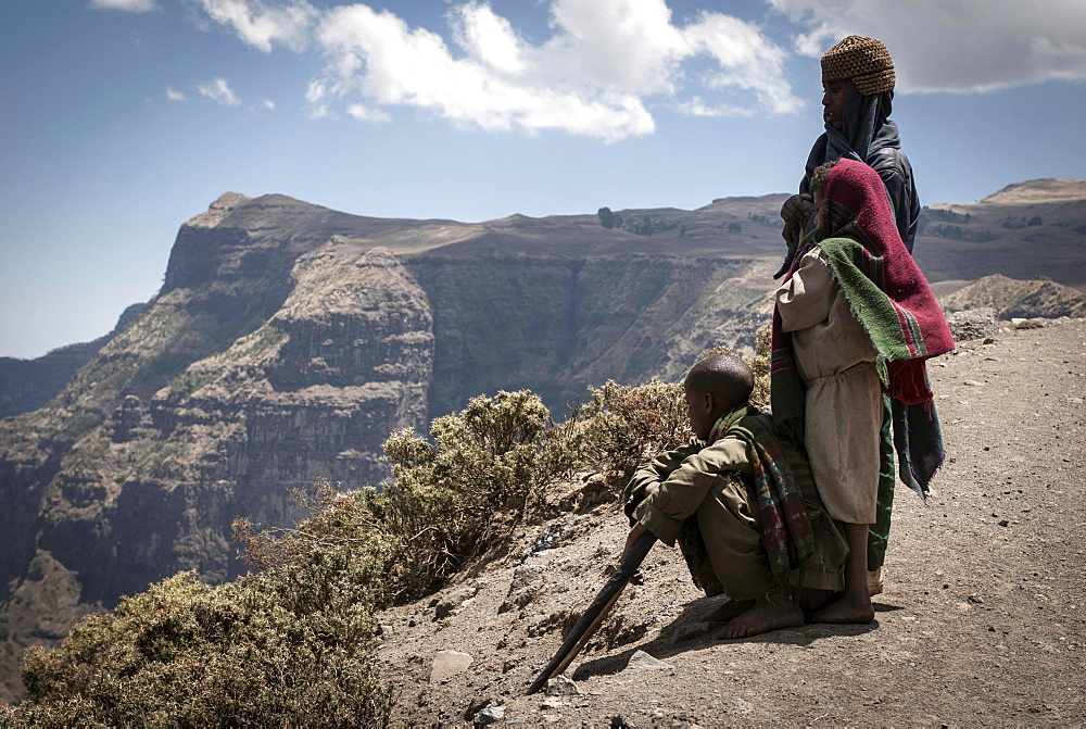 Shepherds in Simien Mountains National Park, Ras Dashen, Ethiopia, Africa