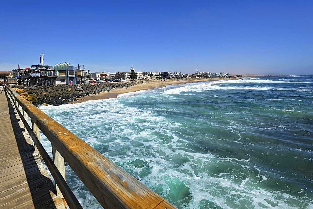 Wooden jetty and beach, Swakopmund, Namibia, Africa