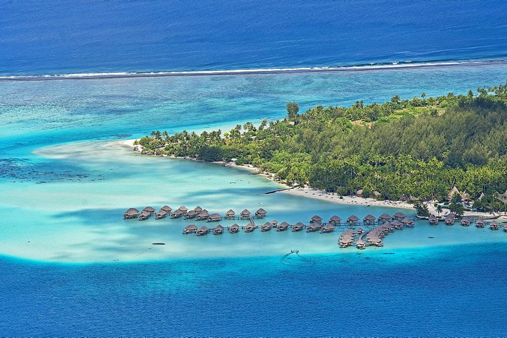 Aerial view, overwater bungalows on the coast, Bora Bora, French Polynesia, Oceania