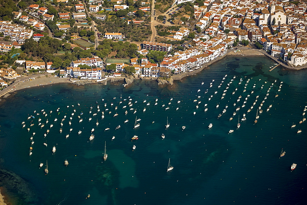 Aerial view, sailing boats, historic centre, Bay of Cadaques, Cadaques, Costa Brava, Catalonia, Spain, Europe