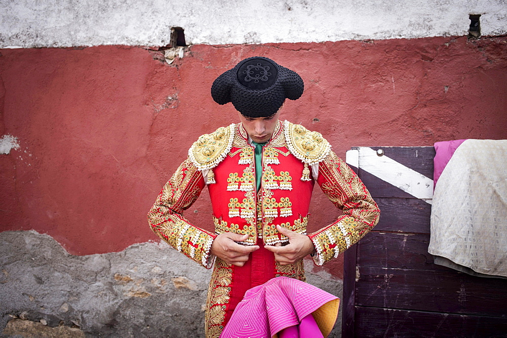 Matador before a bullfight in the arena, Barco de Avila, Avila, Castile and Leon, Spain, Europe