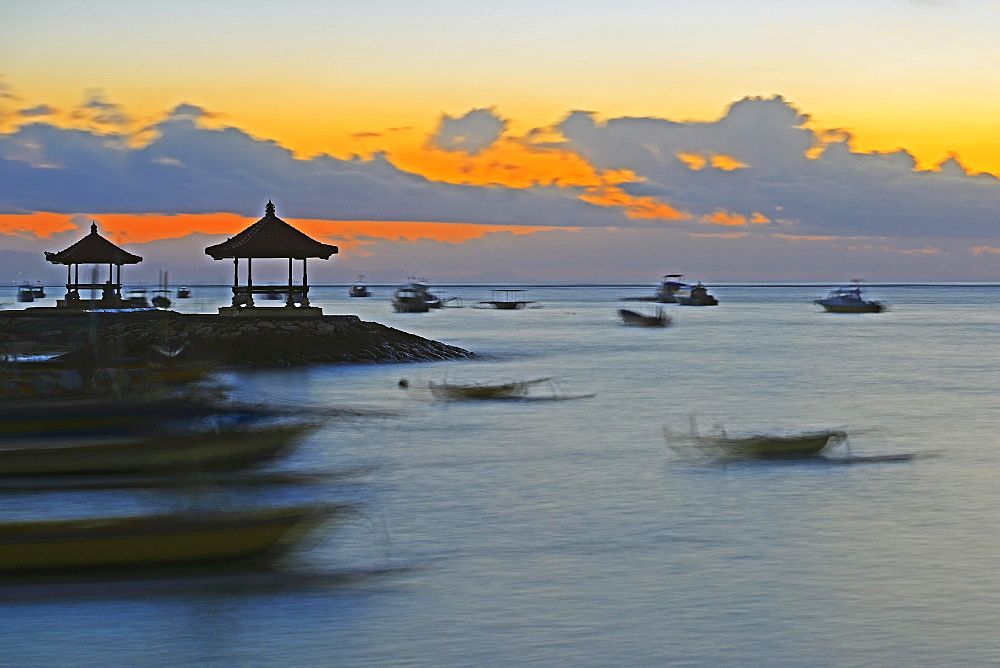 Morning sky on the beach of Sanur, Bali, Indonesia, Asia
