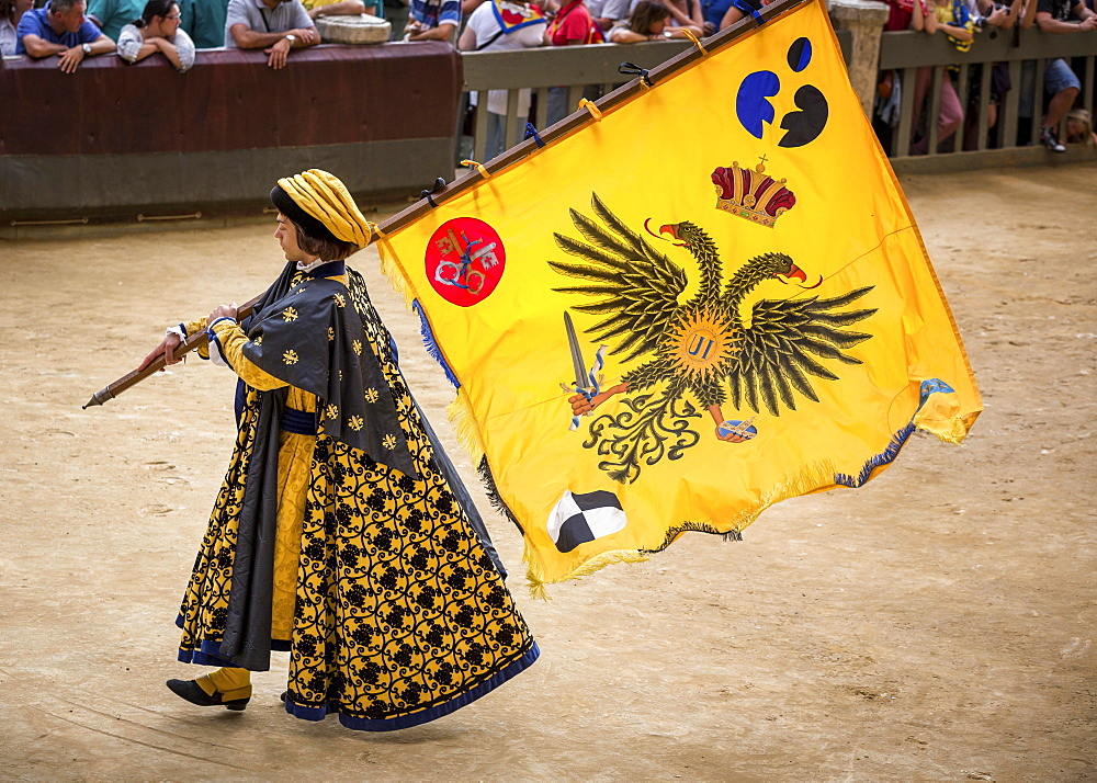 Man carrying a flag from the Eagle or Aquila contrade, historical parade before the Palio di Siena horse race, Siena, Tuscany, Italy, Europe