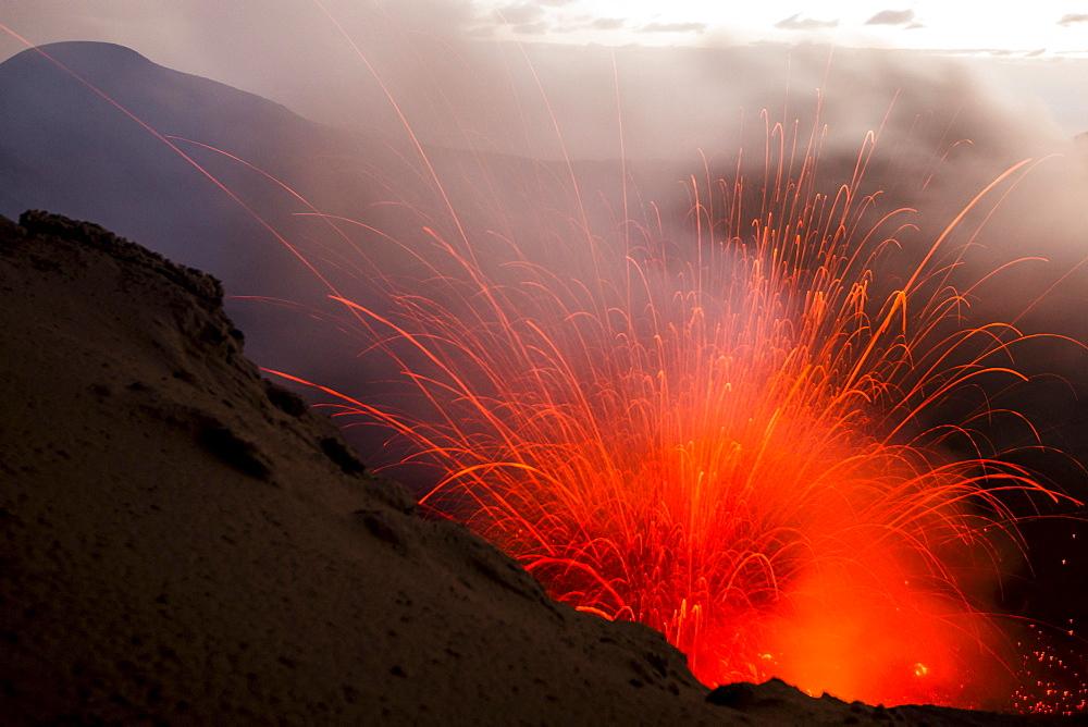Eruption of Mount Yasur volcano, Tanna Island, Vanuatu, Oceania