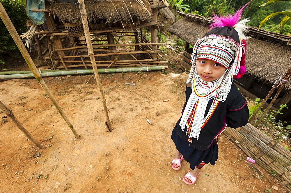 Traditionally dressed girl from the Akha people, hill tribe, ethnic minority, Chiang Rai Province, Northern Thailand, Thailand, Asia