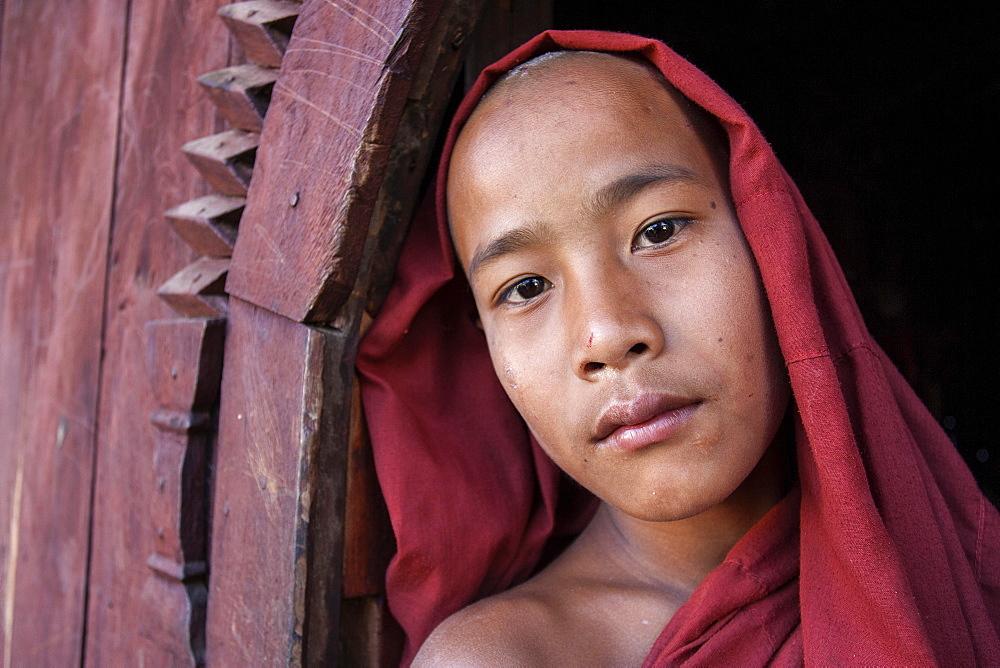 Novice monk in the Shwe Yaunghwe Kyaung Monastery, near Nyaungshwe, Shan State, Inle Lake, Myanmar, Asia - 832-382545