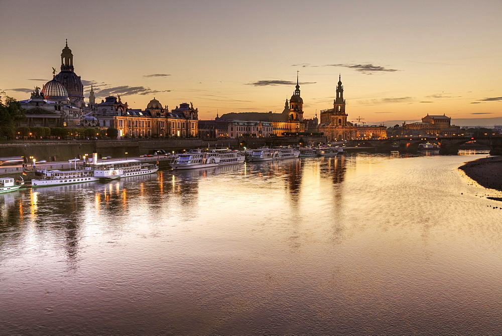 View of the historic centre at night over the River Elbe, Dresden, Saxony, Germany, Europe