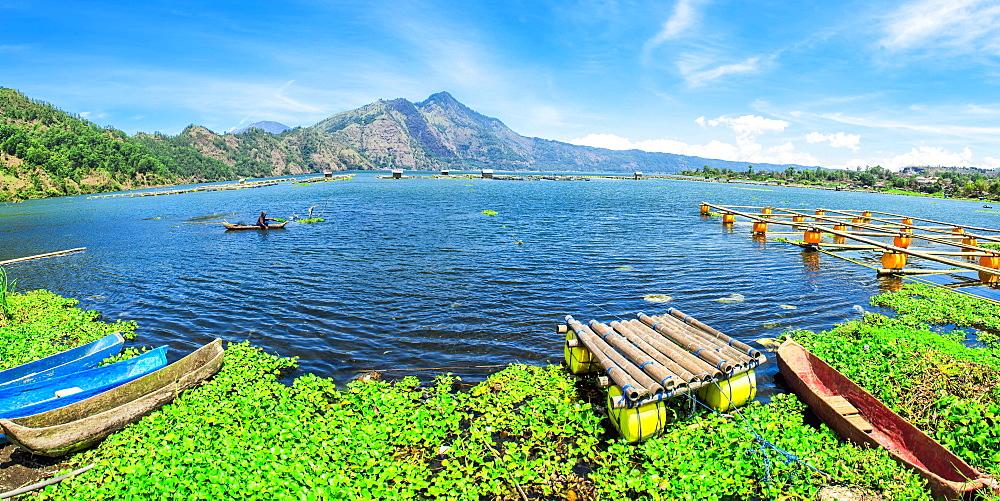 Lake Batur, fisherman, Bali, Indonesia, Asia