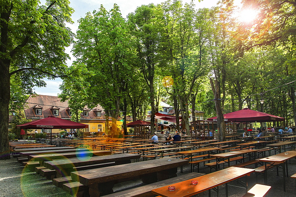 Menterschwaige beer garden, Munich, Upper Bavaria, Bavaria, Germany, Europe