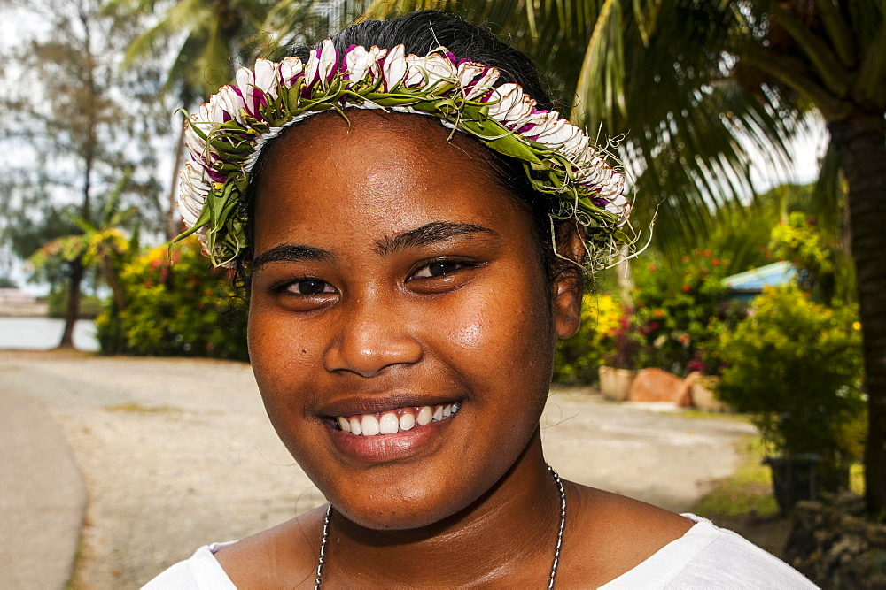 Girl with flowers in her hair, Yap Island, Caroline Islands, Micronesia, Oceania