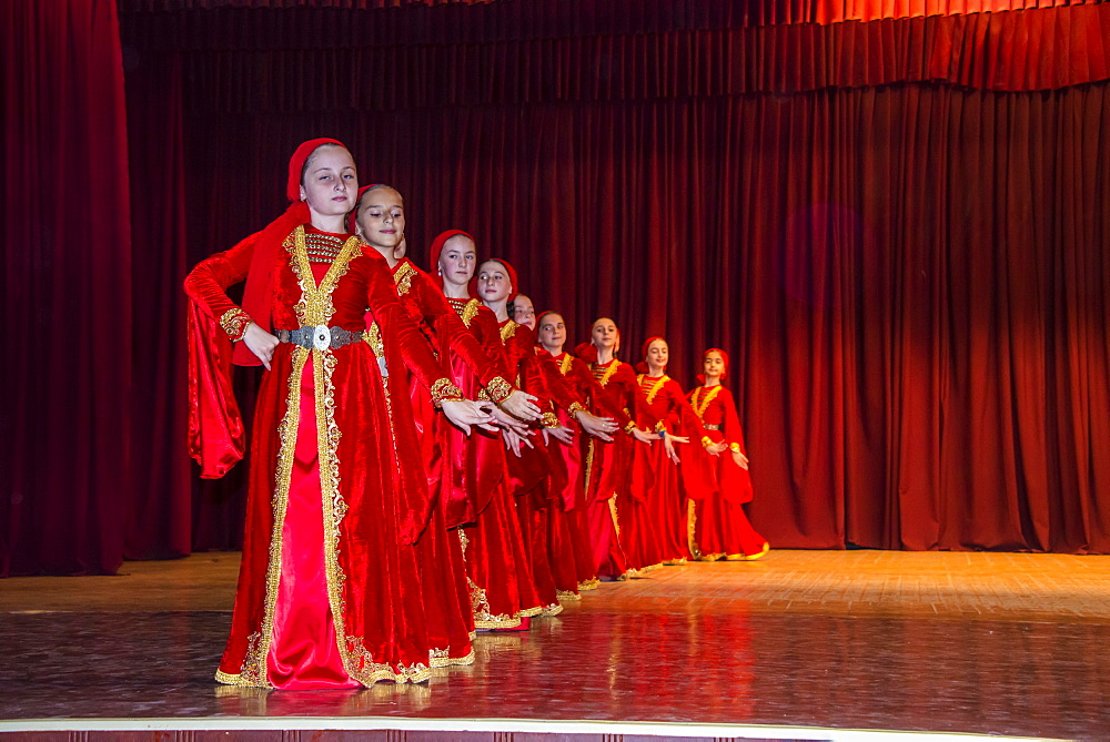 Chechen youth dancing ensemble, Grozny, Chechnya, Caucasus, Russia, Europe