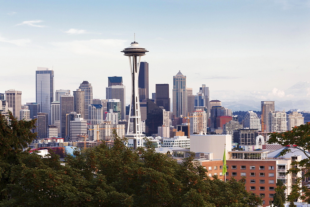 Skyline of Downtown Seattle with the Space Needle and Mt Rainier, Seattle, Washington, United States, North America