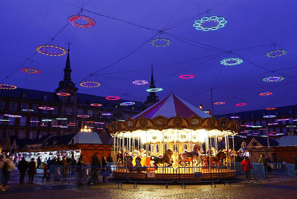Christmas Market, Plaza Mayor, Madrid, Spain, Europe