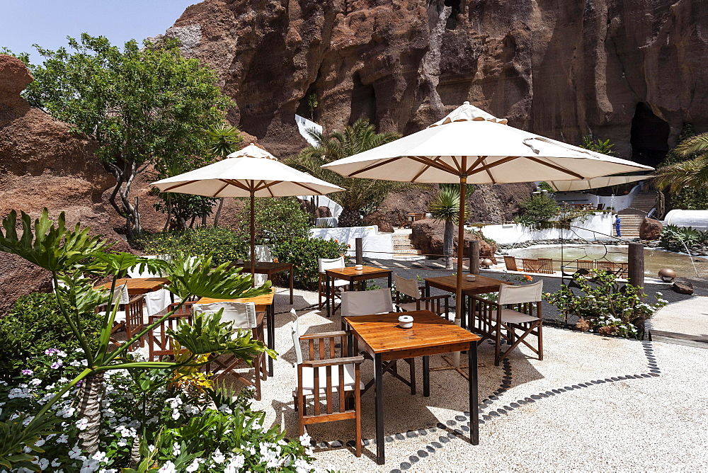 Garden terrace, Lagomar cafe-restaurant, Nazaret, Lanzarote, Canary Islands, Spain, Europe