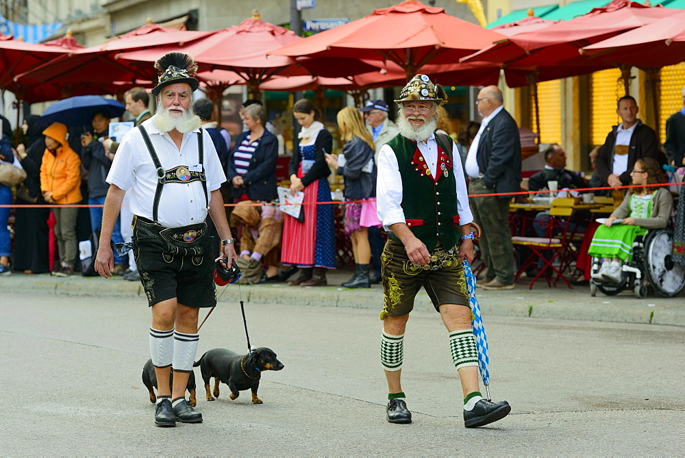 Two Munich men in traditional costume with a Dachshund, Oktoberfest Costume and Riflemen's Parade, Munich, Upper Bavaria, Bavaria, Germany, Europe