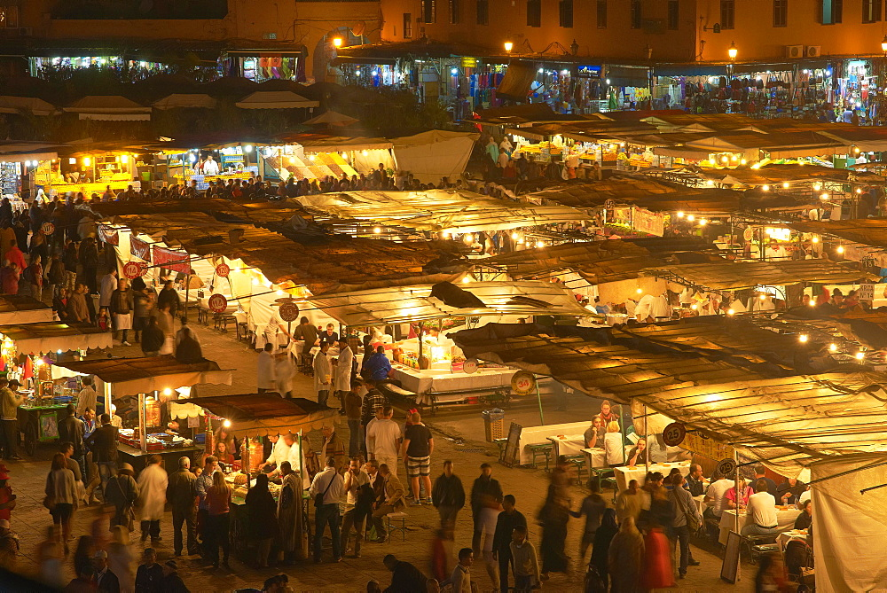Jemaa el-Fnaa Square, UNESCO World Heritage Site, at night, Marrakech, Morocco, Africa