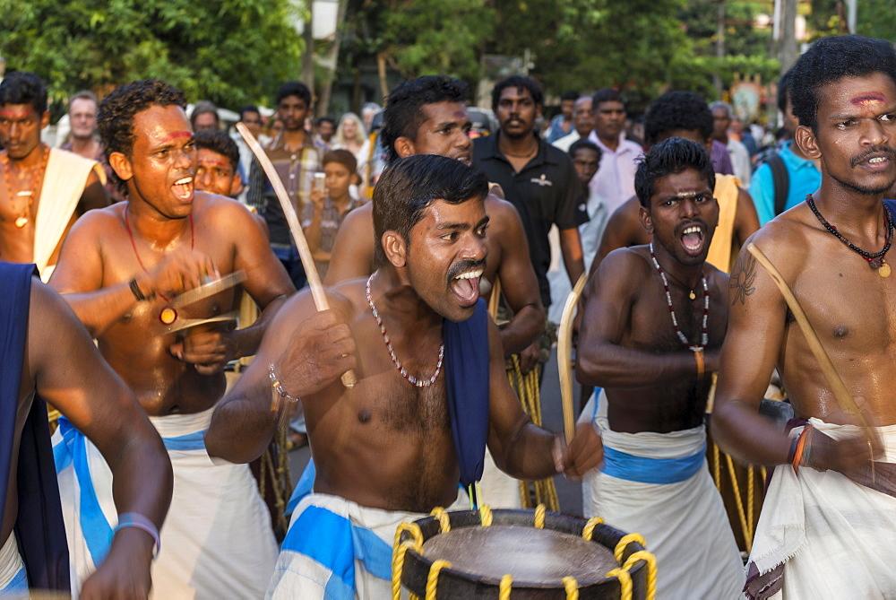 Drummers at a temple festival, Varkala, Kerala, India, Asia