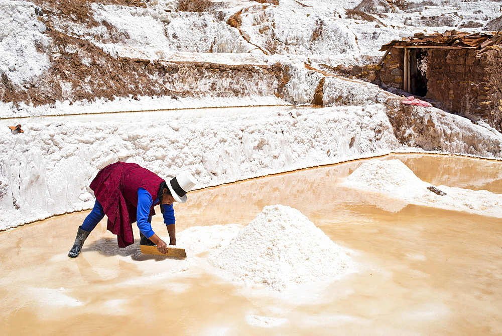 Locals piling up salt with a wooden board, Salinas de Maras salt pans, created by the Incas and still in operation, Pichingote, Cusco region, Andes, Peru, South America - 832-382999