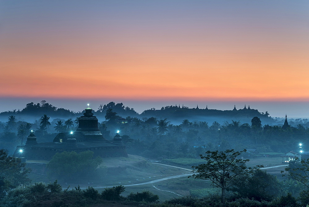 Htukanthein, Dukkanthein or Htoekanthein Temple at twilight, blue hour, Mrauk U, Sittwe District, Rakhine State, Myanmar, Asia