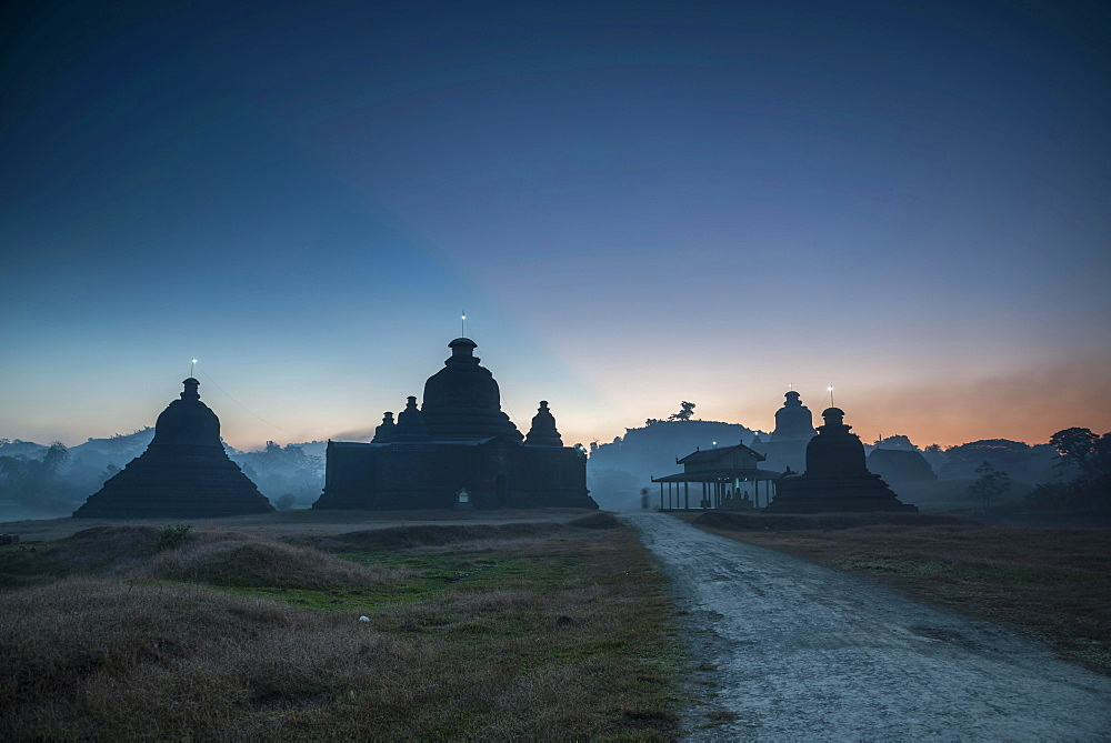 Laymyetnta Pagoda or Temple at twilight, blue hour, Mrauk U, Sittwe District, Rakhine State, Myanmar, Asia