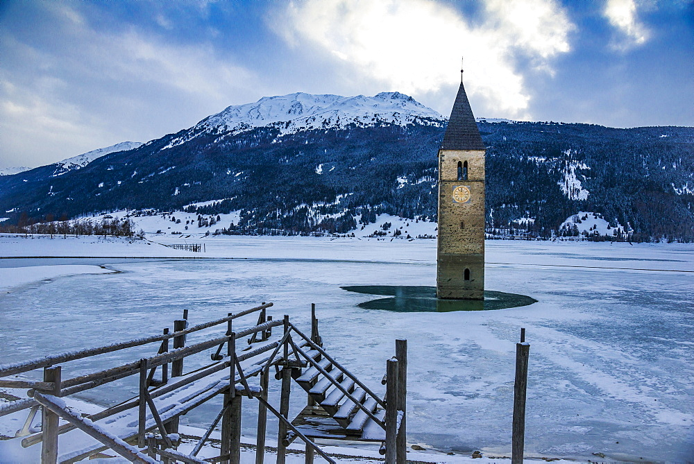 Church tower in Lake Reschen, Graun, Reschen Pass, Vinschgau, South Tyrol, Italy, Europe