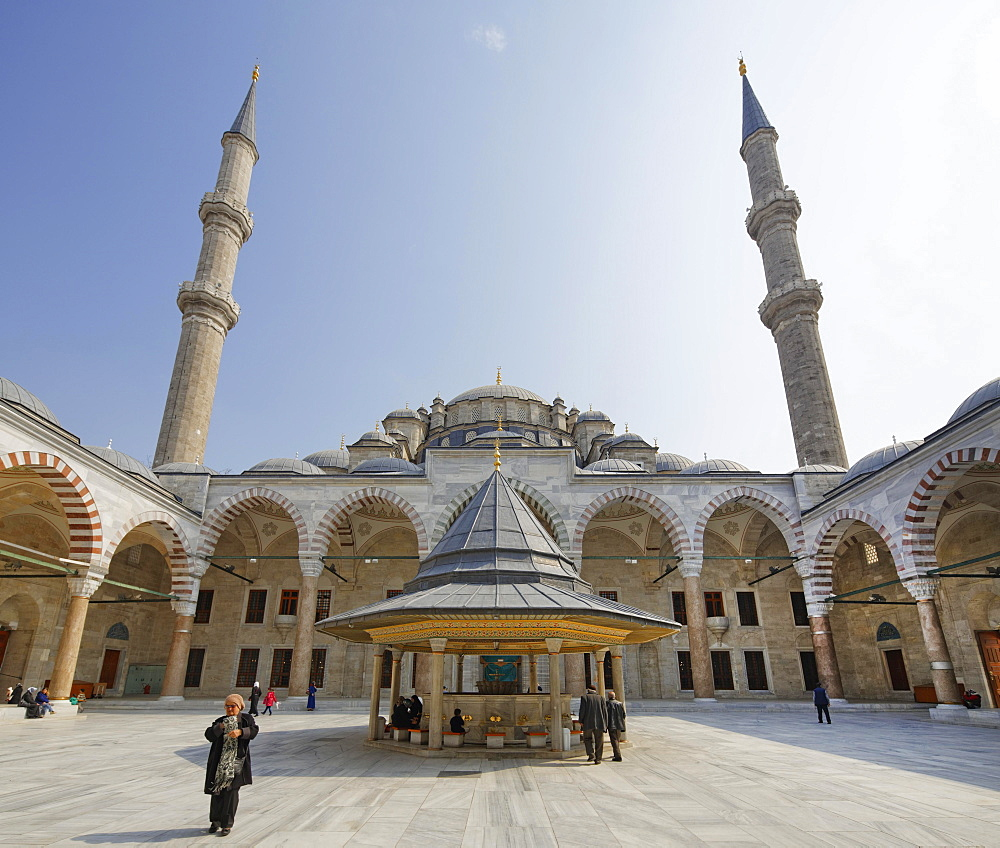 Forecourt of the Fatih Mosque, Fatih Camii, Conqueror's Mosque, Fatih district, Istanbul, European Side, Turkey, Asia
