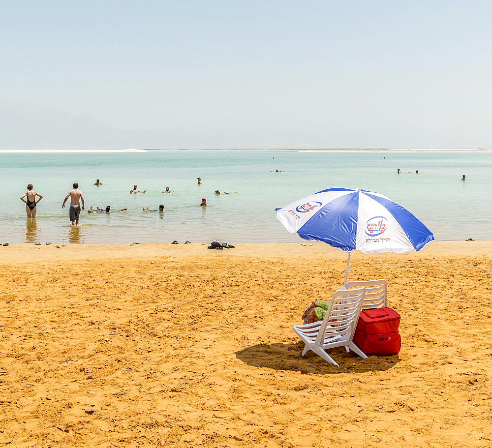 Beach chair and parasol at the beach, Ein Bokek Beach, Dead Sea, Kalia Beach, Israel, Asia