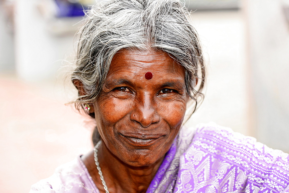 Elderly Indian woman, portrait, Mysore, Karnataka, South India, India, Asia