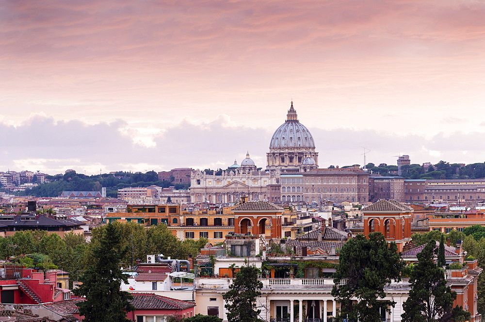View from the Pincio of St. Peter's Basilica, Vatican, Rome, Lazio, Italy, Europe