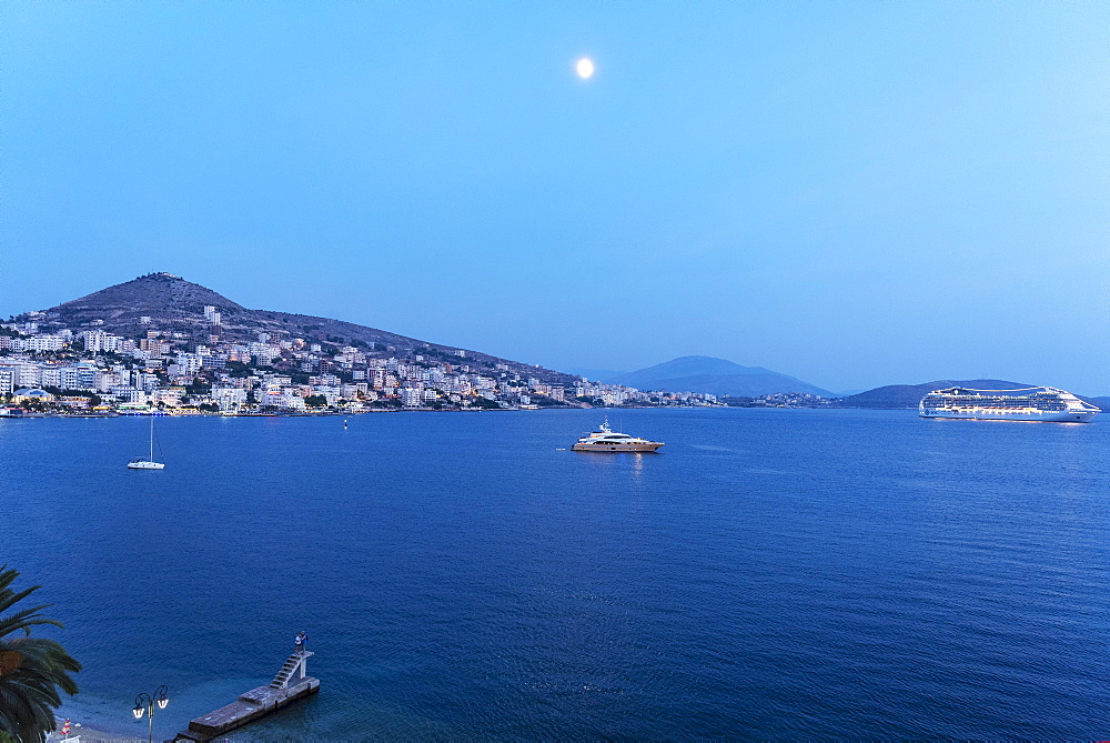 City view at night, Saranda, Ionian Sea, Albania, Europe