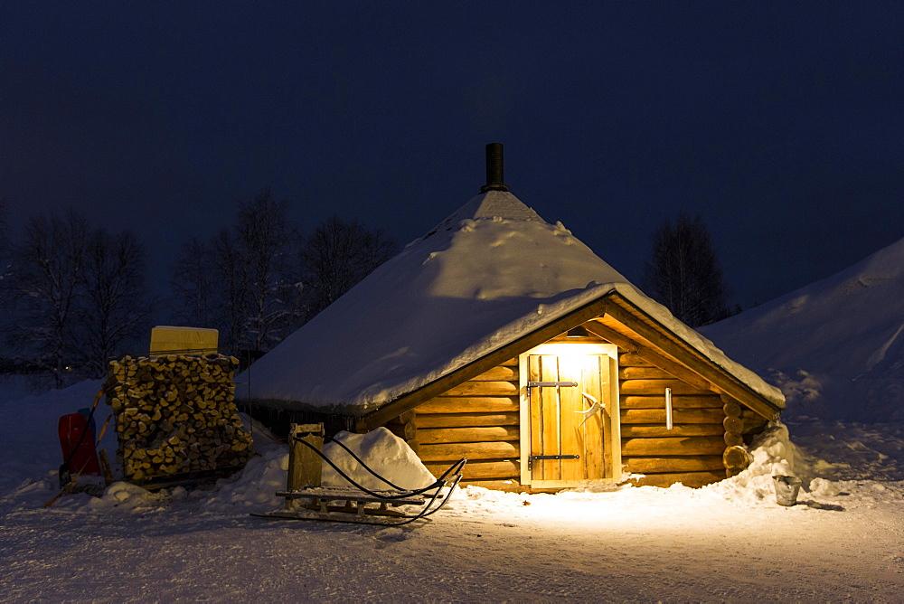 Kota, hut of the Sami people, Sinetta, Lapland, Finland, Europe - 832-383101