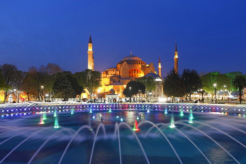 Hagia Sophia, Ayasofya, Sultanahmet Park, fountain in Sultanahmet, Istanbul, European side, Turkey, Asia