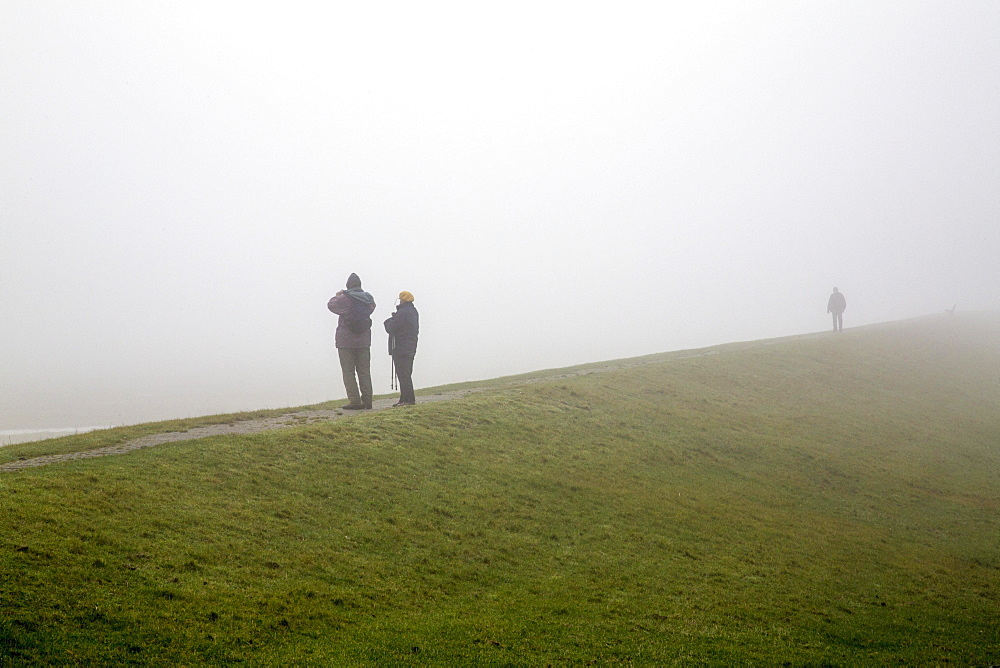 Hikers standing on a dyke, in dense autumn fog, Spiekeroog, East Frisian Islands, East Frisia, Lower Saxony, Germany, Europe
