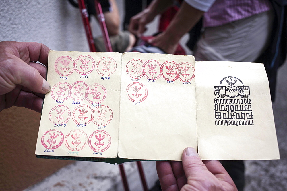 Stamps in the Pilgrim Pass, the 30th pilgrimage of Hans Unterberger, Grossglockner pilgrimage from Fisch and Rauris, Salzburg State, to Heiligenblut to St. Peter and Paul, Carinthia, Austria, Europe