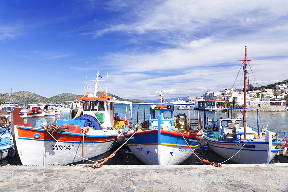 Fishing boats in the port of Elounda, Mirabello Gulf, East Crete, Crete, Greece, Europe