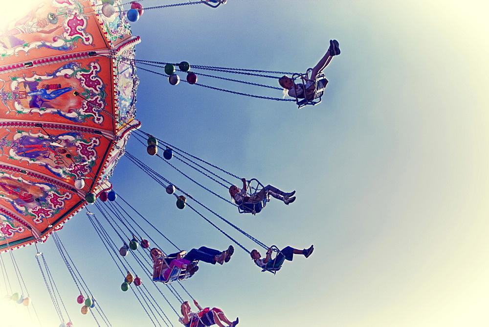 Chairoplane or swing ride, Oktoberfest, Munich, Upper Bavaria, Bavaria, Germany, Europe - 832-383122