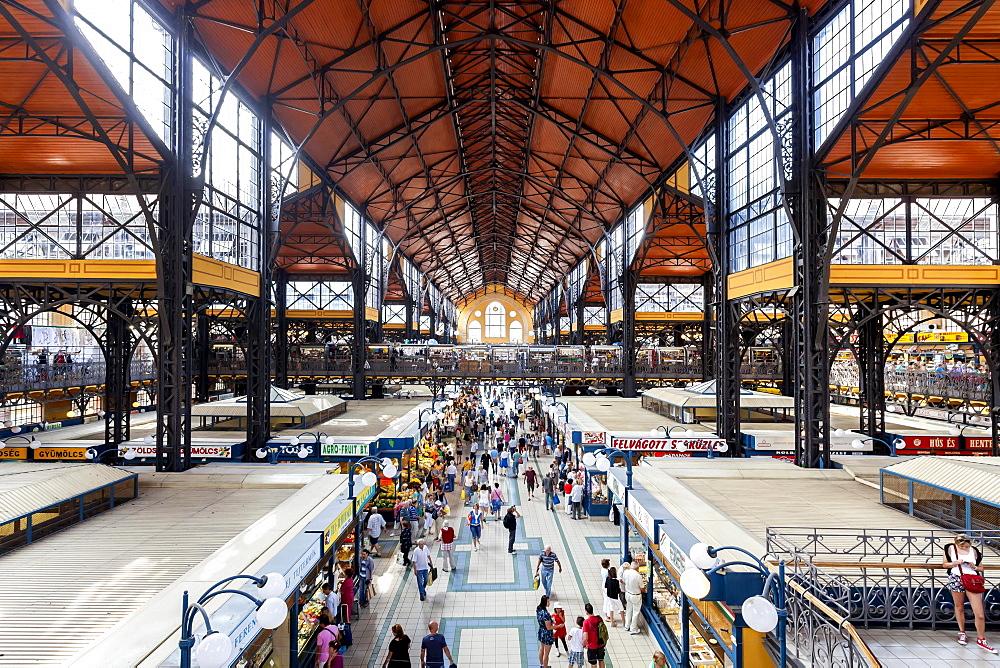 Interior, Great Market Hall or Central Market Hall, Kozponti Vasarcsarnok, Budapest, Hungary, Europe