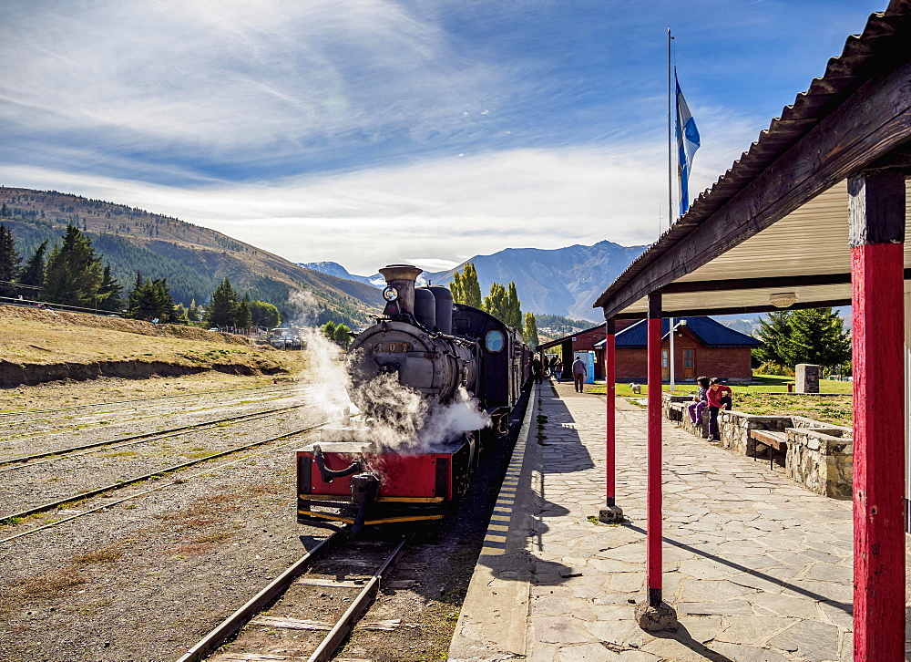 Old Patagonian Express La Trochita, steam train, Esquel Train Station, Chubut Province, Patagonia, Argentina, South America - 832-383167