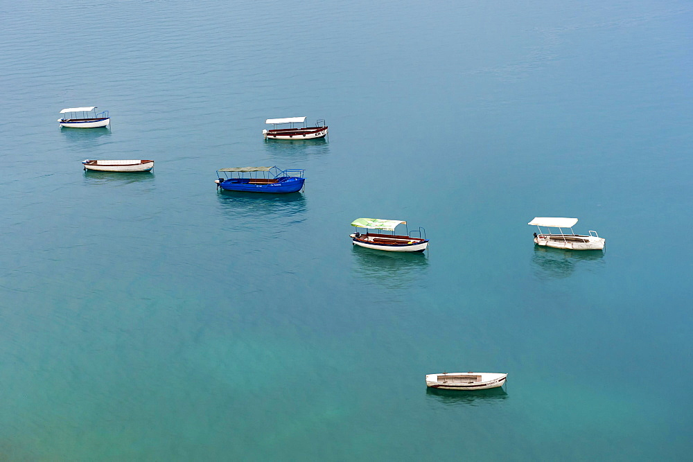 Small boats on Ohrid lake, Ohrid, Macedonia, Europe