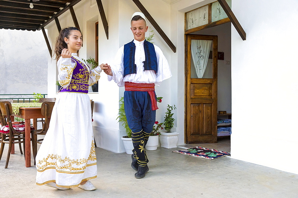 Local folkloric group in traditional costume demonstrating national Albanian dance, Berat, Albania, Europe - 832-383202