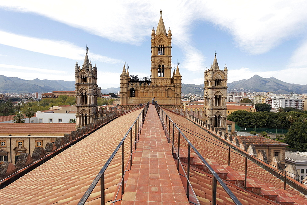 View from the roof, Palermo Cathedral, Palermo, Province of Palermo, Sicily, Italy, Europe