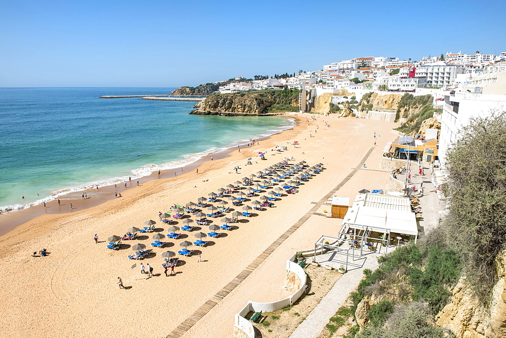 Fisherman's Beach, parasols and beach chairs, Albufeira, Algarve, Portugal, Europe
