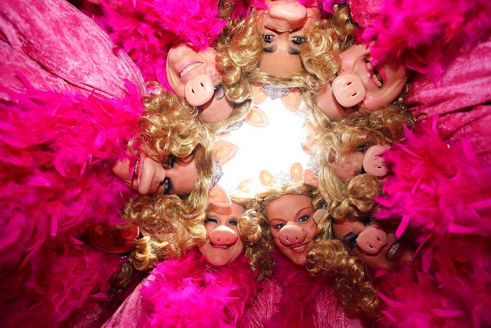 Miss Piggy costumes, Schwerdonnerstag carnival parade, Mulheim-Karlich, Rhineland-Palatinate, Germany, Europe