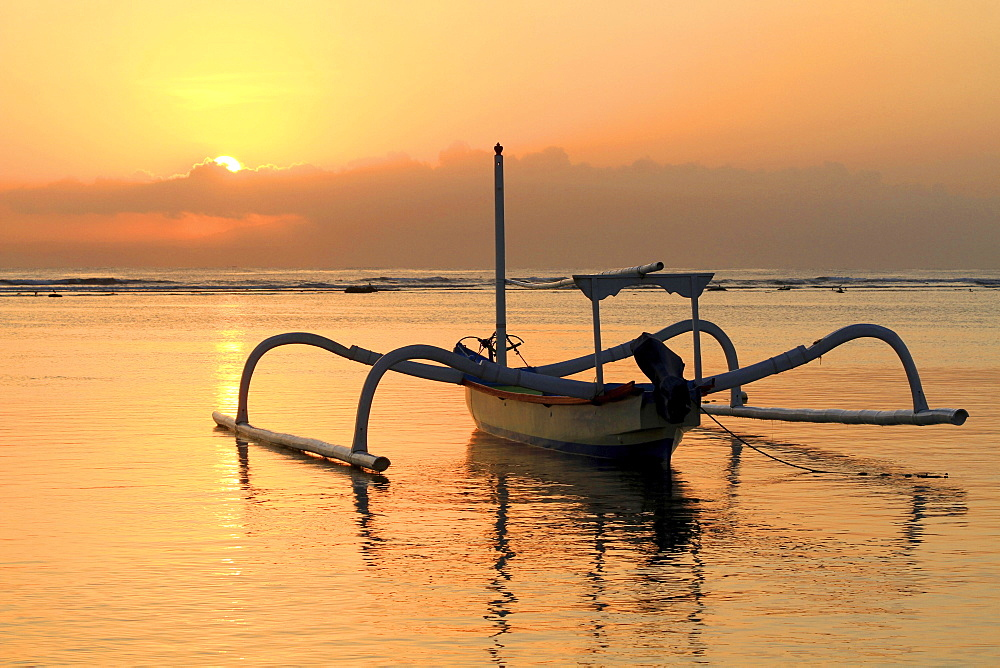 Fishing boat, beach, sunrise, Sanur, Bali, Indonesia, Asia